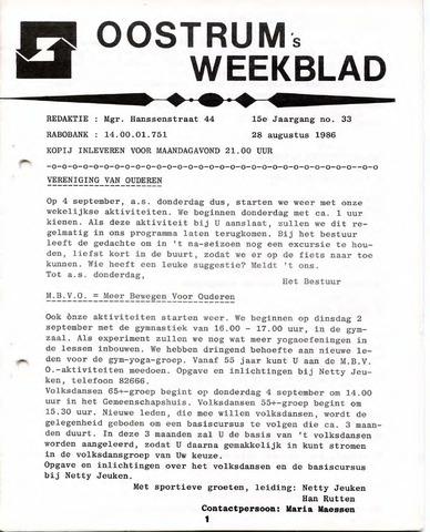 Oostrum's Weekblad 1986-08-28