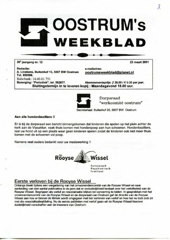 Oostrum's Weekblad 2001-03-23