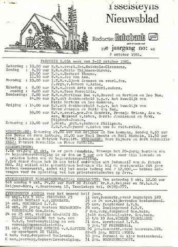 Ysselsteyns Nieuwsblad 1981-10-02