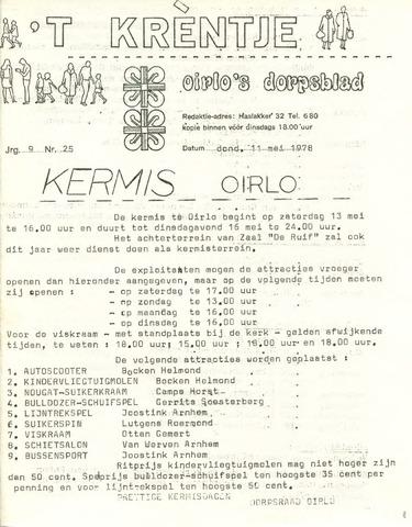 Oirlo's dorpsblad 't Krèntje 1978-05-11