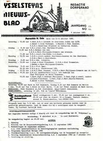 Ysselsteyns Nieuwsblad 1985-10-04