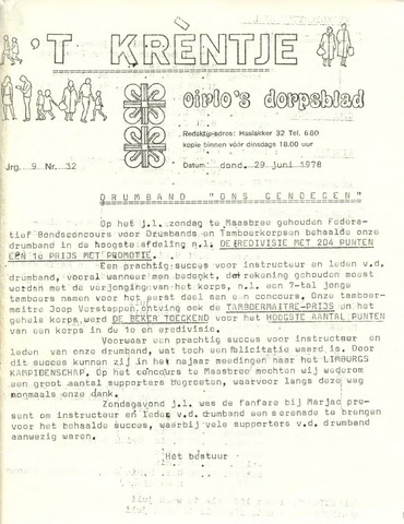 Oirlo's dorpsblad 't Krèntje 1978-06-29