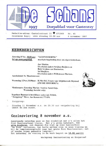 Castenrays dorpsblad De Schans 1997-11-06