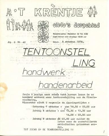 Oirlo's dorpsblad 't Krèntje 1978-10-05