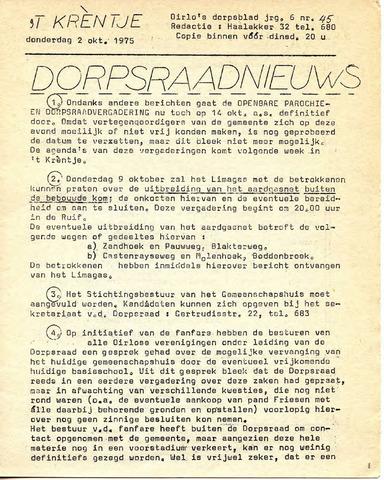 Oirlo's dorpsblad 't Krèntje 1975-10-02