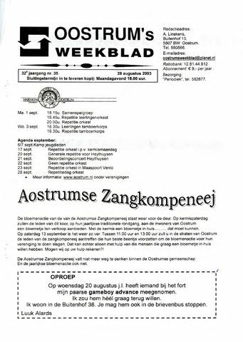 Oostrum's Weekblad 2003-08-28