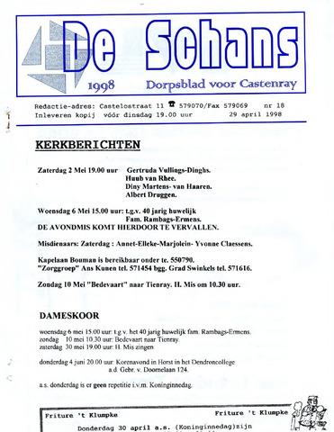 Castenrays dorpsblad De Schans 1998-04-29