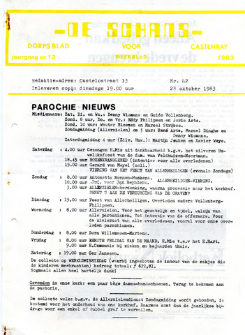 Castenrays dorpsblad De Schans 1983-10-28