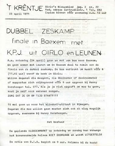 Oirlo's dorpsblad 't Krèntje 1971-04-23