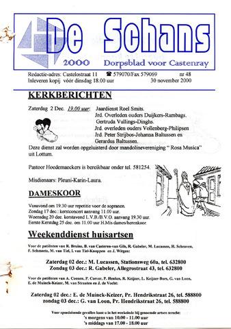 Castenrays dorpsblad De Schans 2000-11-30