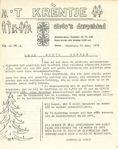 Oirlo's dorpsblad 't Krèntje 1978-12-21