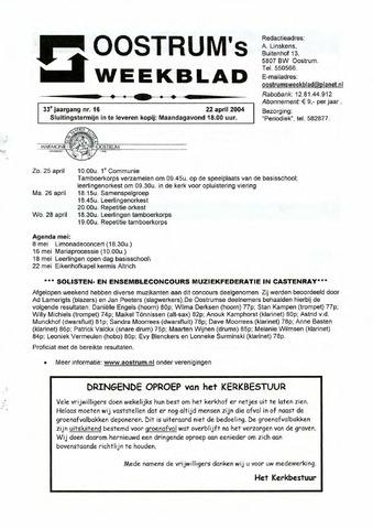 Oostrum's Weekblad 2004-04-22