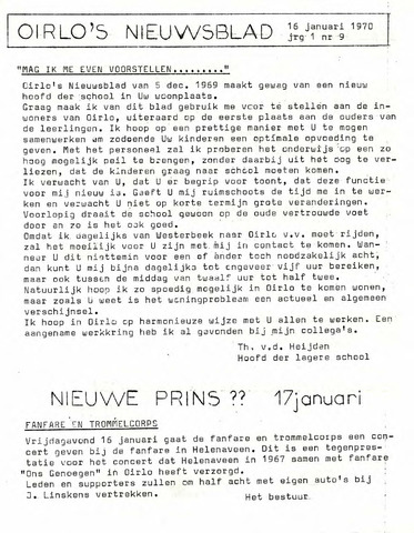 Oirlo's dorpsblad 't Krèntje 1970-01-16