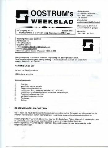 Oostrum's Weekblad 2003-03-06