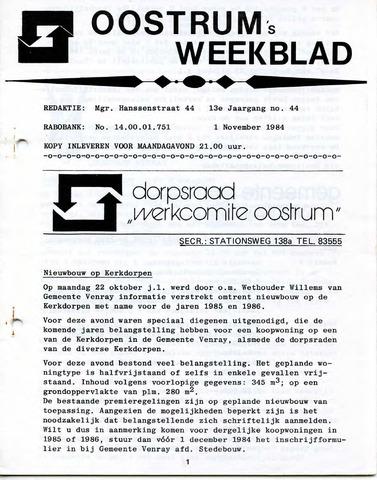 Oostrum's Weekblad 1984-11-01