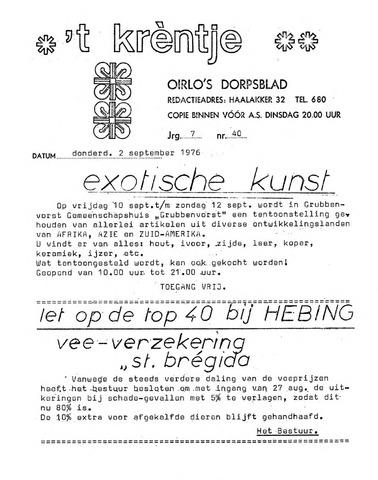 Oirlo's dorpsblad 't Krèntje 1976-09-02