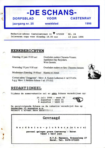 Castenrays dorpsblad De Schans 1996-06-13