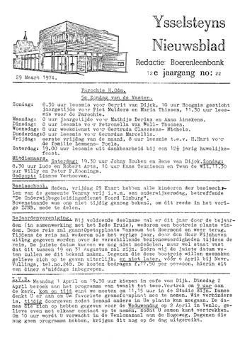 Ysselsteyns Nieuwsblad 1974-03-29