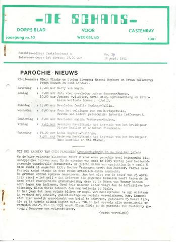 Castenrays dorpsblad De Schans 1981-09-18