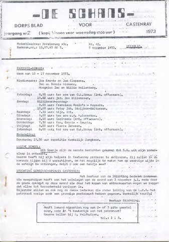 Castenrays dorpsblad De Schans 1973-11-09