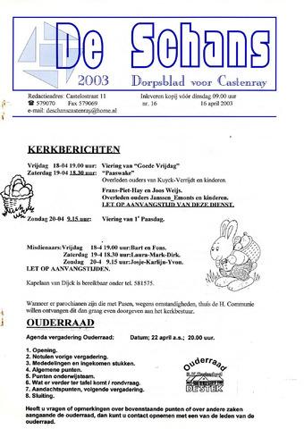 Castenrays dorpsblad De Schans 2003-04-16