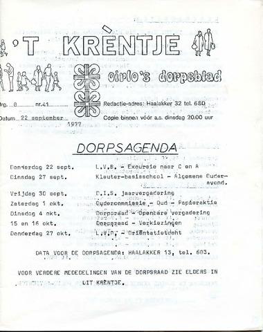Oirlo's dorpsblad 't Krèntje 1977-09-22