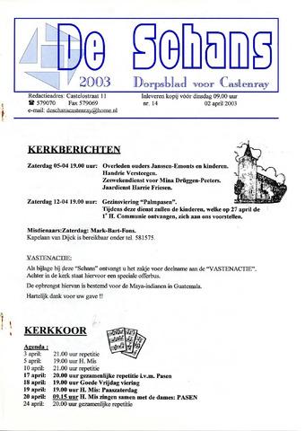 Castenrays dorpsblad De Schans 2003-04-02