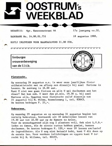 Oostrum's Weekblad 1988-08-18