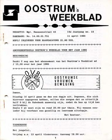 Oostrum's Weekblad 1985-04-11