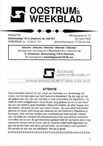 Oostrum's Weekblad 2000-03-30