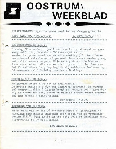 Oostrum's Weekblad 1977-11-17