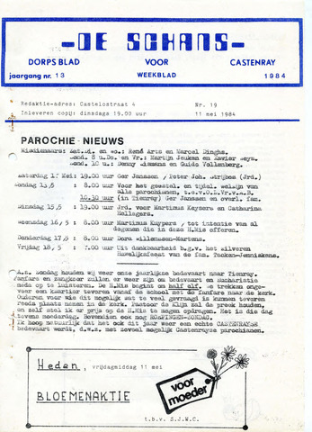 Castenrays dorpsblad De Schans 1984-05-11