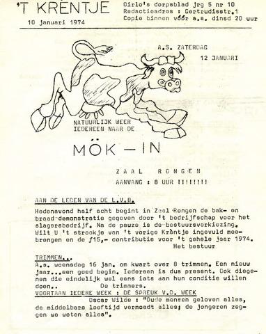 Oirlo's dorpsblad 't Krèntje 1974-01-10