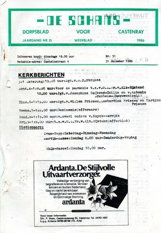 Castenrays dorpsblad De Schans 1986-12-31