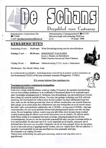 Castenrays dorpsblad De Schans 2008-03-19