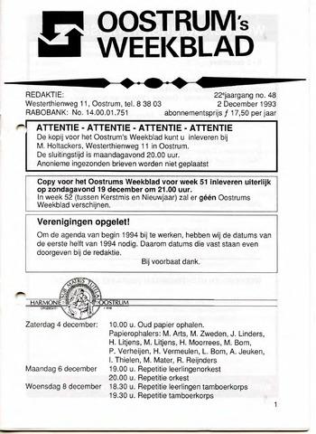 Oostrum's Weekblad 1993-12-02