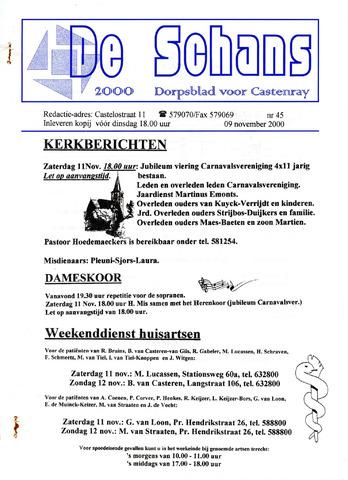 Castenrays dorpsblad De Schans 2000-11-09