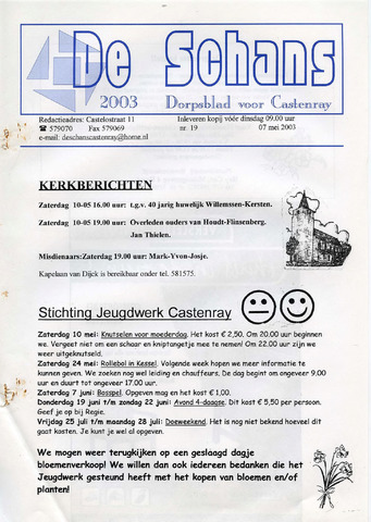 Castenrays dorpsblad De Schans 2003-05-07