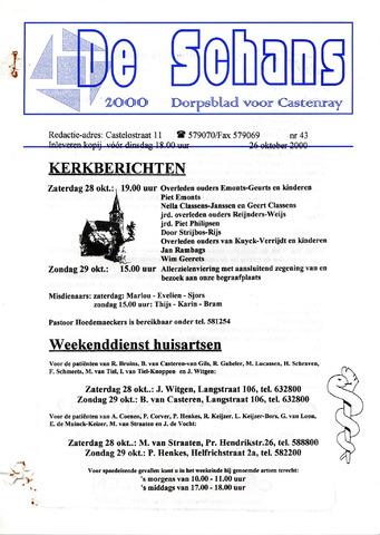Castenrays dorpsblad De Schans 2000-10-26