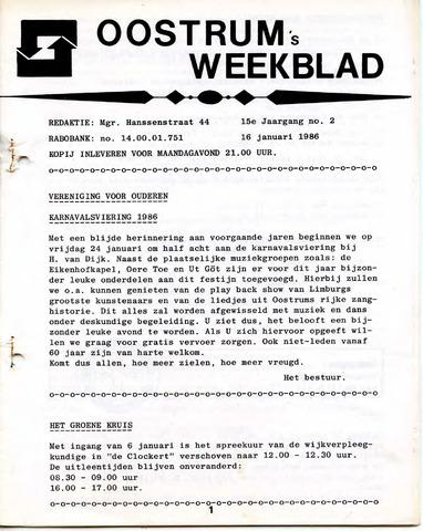 Oostrum's Weekblad 1986-01-16