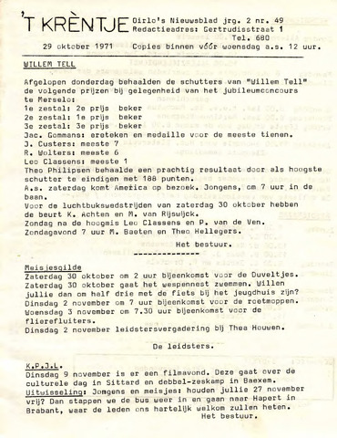 Oirlo's dorpsblad 't Krèntje 1971-10-29