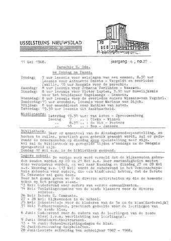 Ysselsteyns Nieuwsblad 1968-05-11