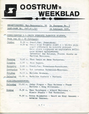 Oostrum's Weekblad 1976-02-19