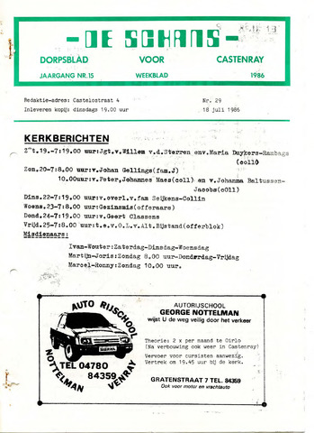Castenrays dorpsblad De Schans 1986-07-18
