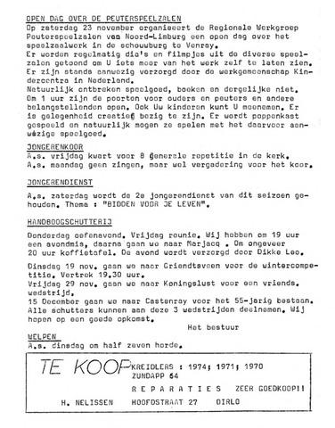 Oirlo's dorpsblad 't Krèntje 1974-11-14