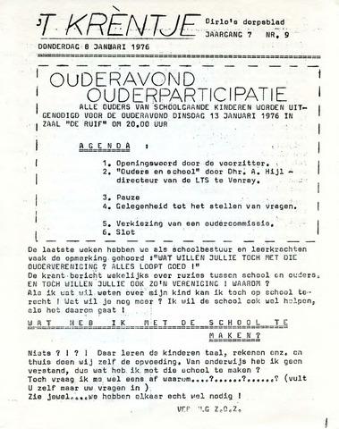 Oirlo's dorpsblad 't Krèntje 1976-01-08