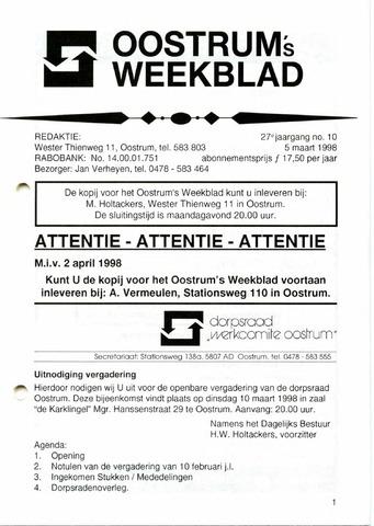 Oostrum's Weekblad 1998-03-05