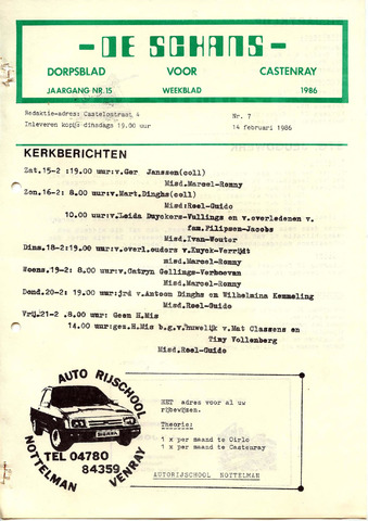 Castenrays dorpsblad De Schans 1986-02-14