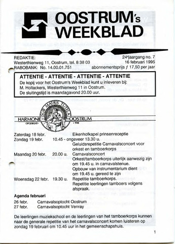 Oostrum's Weekblad 1995-02-16