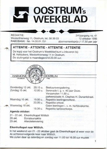Oostrum's Weekblad 1995-10-12